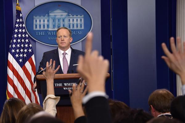 White House Press Secretary Sean Spicer holds the daily press briefing January 23, 2017 at the White House in Washington, DC.
