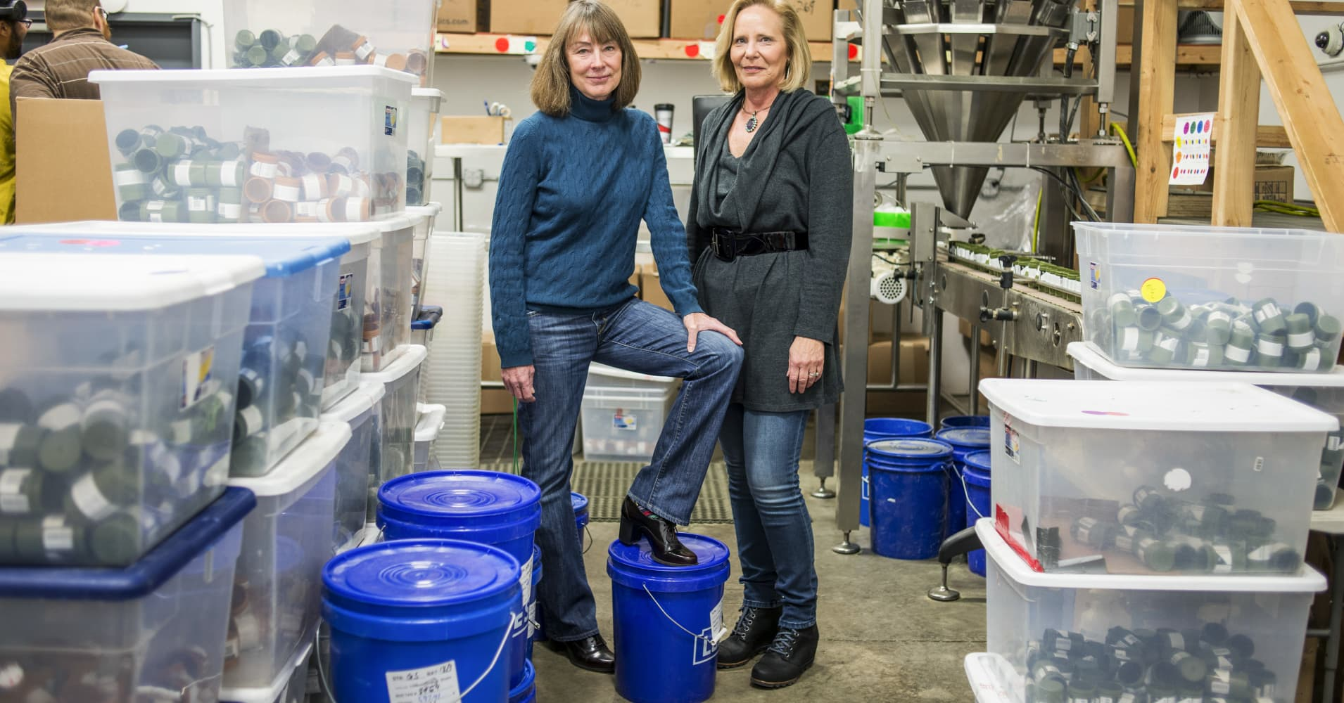 Barbara Diner, right, and Deb Baker, managing partners of Higher Standard Packaging, which makes containers for cannabis products, at the Terrapin Care Station production facility in Aurora, Colo., Jan.  12, 2017.