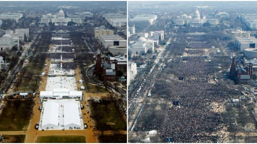 A combination of photos taken at the National Mall shows the crowds attending the inauguration ceremonies to swear in U.S. President Donald Trump at 12:01pm (L) on January 20, 2017 and President Barack Obama on January 20, 2009, in Washington, DC