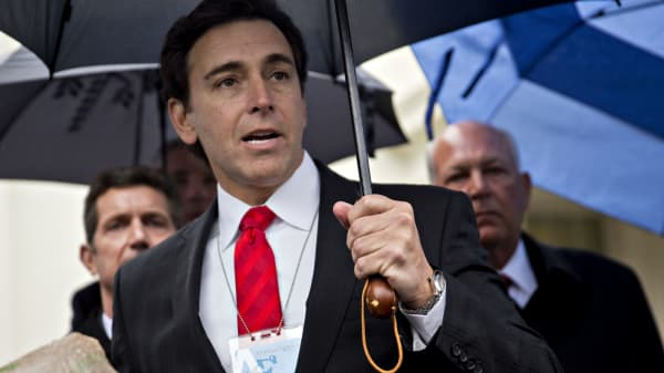 Mark Fields, president and chief executive officer of Ford Motor Co., speaks during a news conference outside the White House after a meeting with U.S. President Donald Trump, not pictured, in Washington, D.C., U.S., on Monday, Jan. 23, 2017.