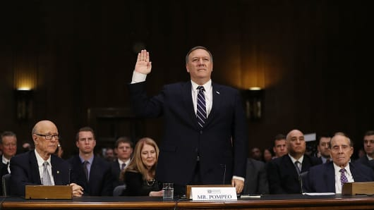 Mike Pompeo (R-KS) is sworn in at his confirmation hearing before the Senate (Select) Intelligence Committee on January 12, 2017 in Washington, DC.