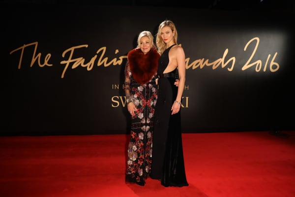 Nadja Swarovski (left) with model Karlie Kloss at The Fashion Awards 2016
