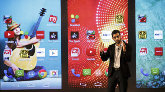 Sundar Pichai, senior vice president of Android, Chrome and Apps at Google Inc., gestures as he speaks during the company's Android One smartphone launch event in New Delhi, India, on Monday, Sept. 15, 2014.