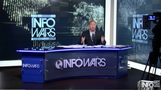 Alex Jones on the InfoWars set.