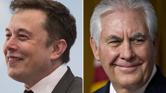 Elon Musk, Tesla CEO and Rex Tillerson