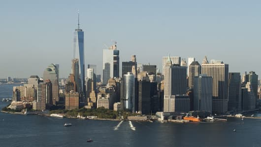 The skyline of downtown Manhattan, including the Freedom Tower, is seen in this aerial photograph over New York City, September 13, 2016.