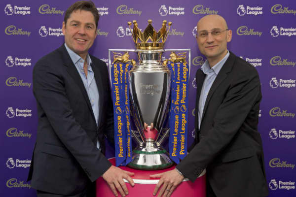 Richard Masters, Premier League managing director and Francesco Vitrano, Cadbury brand director