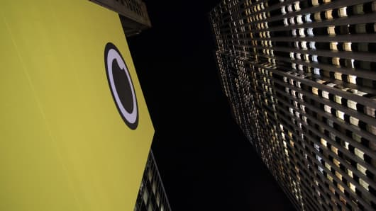 Signage is displayed on the exterior of a Snapchat Spectacles by Snap Inc. pop-up store in New York.