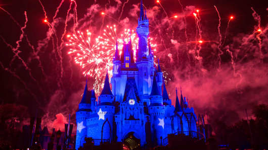 Fireworks explode over the Cinderella Castle at The Magic Kingdom, part of Disney World in Orlando, Florida.