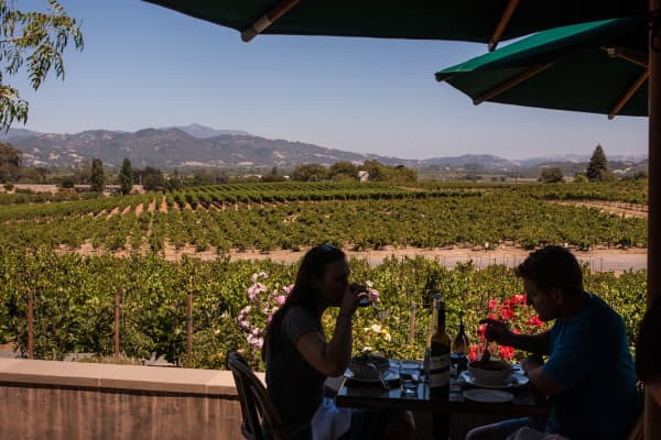 Guest dine at Rustic, the restaurant at Francis Ford Coppola Winery.
