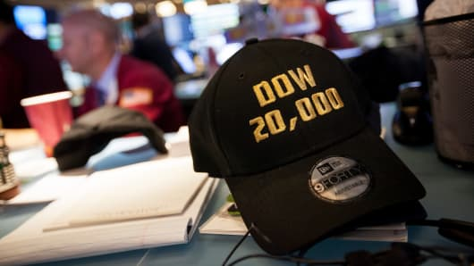 "A ""Dow 20,0000"" hat sits on a desk at the New York Stock Exchange on Wednesday, Jan. 25, 2017."