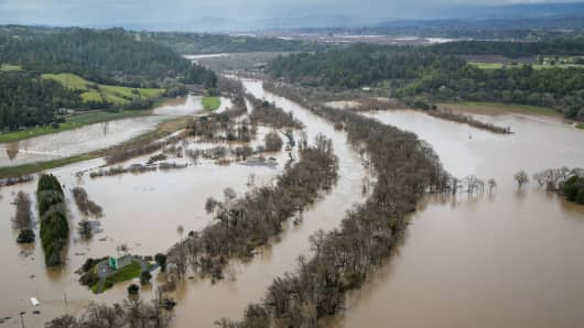 Vineyards and farmland along the Russian River are inundated by widespread flooding following days of torrential rain as viewed on January 11, 2017, near Healdsburg, California.
