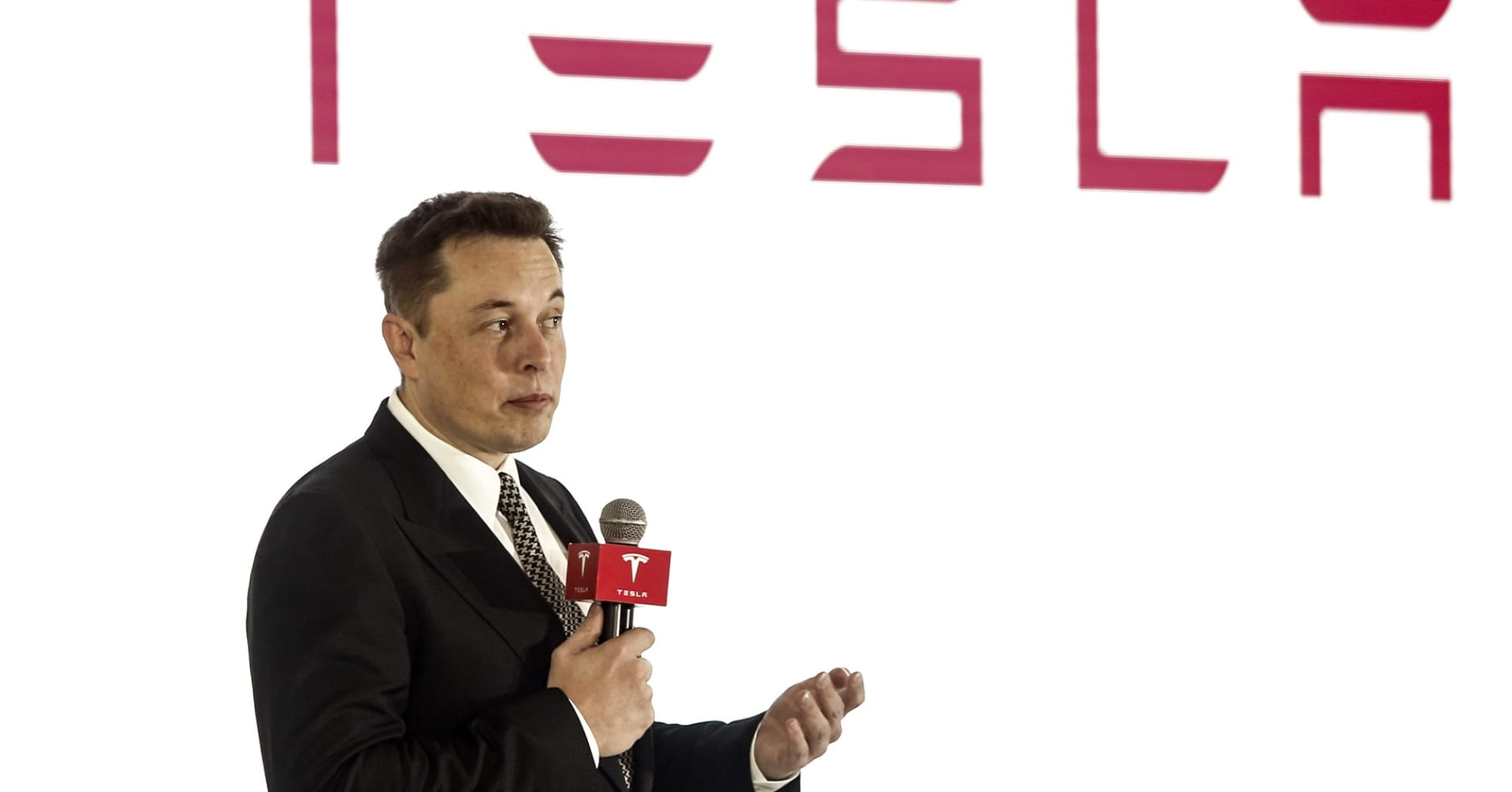 Elon Musk, Tesla CEO,  addresses a press conference in October 2015.