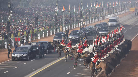 January 23, 2017: A full dress rehearsal for the Republic Day parade in New Delhi. On January 26, 2017 India will celebrate its 68th Republic Day with a large military parade.