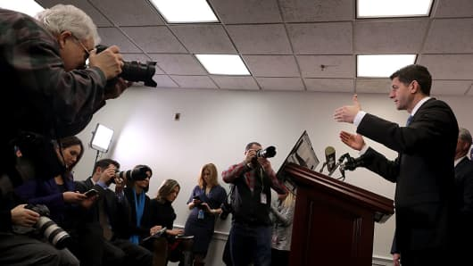 Speaker of the House Paul Ryan (R-WI) takes questions from reporters during a news conference following a Republican conference meeting at the U.S. Capitol January 24, 2017 in Washington, DC.