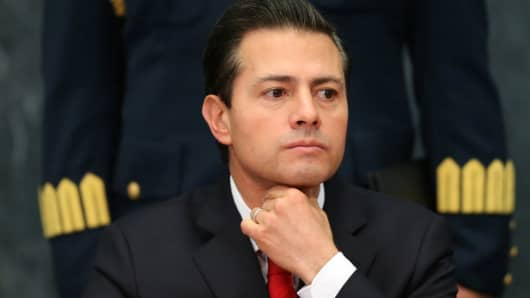 Mexico's President Enrique Pena Nieto gestures as he delivers a message about foreign affairs at Los Pinos presidential residence in Mexico City, Mexico, January 23, 2017.
