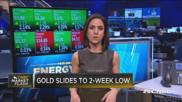 Gold slides to 2-week low