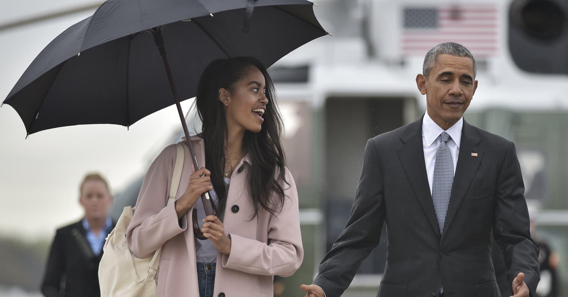 Malia Obama and President Barack Obama