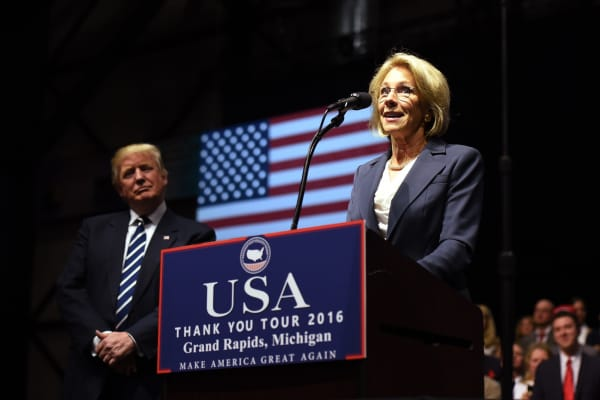 DeVos speaks during the USA Thank You Tour December 9, 2016 in Grand Rapids, Michigan.