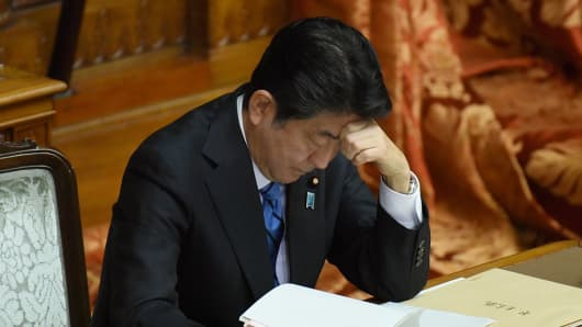 Japan's Prime Minister Shinzo Abe listens to questions at his seat during a plenary session of the upper house of parliament in Tokyo on January 24, 2017, after U.S. President Donald Trump decided to pull the U.S. out of the Trans-Pacific Partnership (TPP).