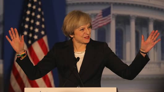 British Prime Minister Theresa May speaks at the Congress of Tomorrow Republican Member Retreat at Loews Philadelphia Hotel on January 26, 2017 in Philadelphia, Pennsylvania.