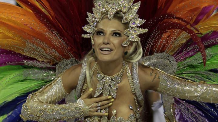 Members of Mocidade Samba School dance in Rio de Janeiro, Brazil, on February 20, 2012.