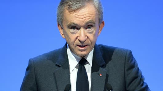 French luxury group LVMH Chairman and Chief Executive Officer Bernard Arnault presents the 2016 full year results at the LVMH headquarters in Paris, on January 26, 2017.