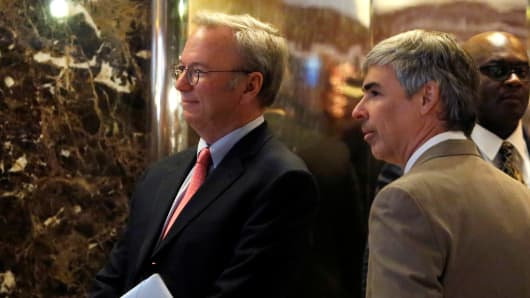 Eric Schmidt, chairman of Alphabet Inc. and Larry Page, CEO and Co-founder of Alphabet enter Trump Tower ahead of a meeting of technology leaders with President-elect Donald Trump in Manhattan, New York City, U.S., December 14, 2016.