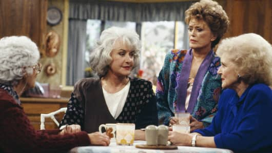 "Still from ""The Golden Girls"": Estelle Getty as Sophia Petrillo, Bea Arthur as Dorothy Petrillo Zbornak, Rue McClanahan as Blanche Devereaux, Betty White as Rose Nylund"