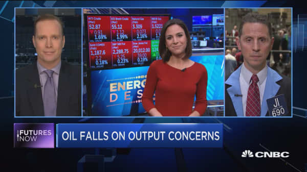 Futures Now: Oil falls on output concerns