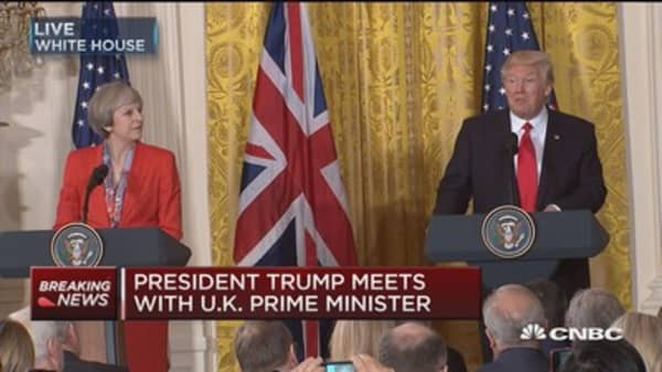 President Trump holds a joint press conference with UK PM Theresa May