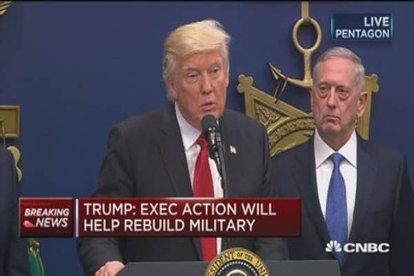 Trump: Executive action will help rebuild military