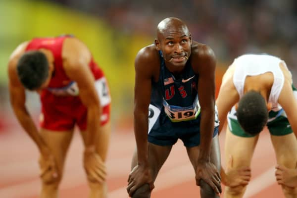 Bernard Lagat looks at the scoreboard as he fails to qualify in the Men's 1500m Semi Final held at the National Stadium on Day 9 of the Beijing 2008 Olympic Games