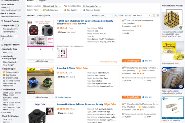"A search on Alibaba for ""Fidget Cube"" returns over 13,000 manufacturer listings."