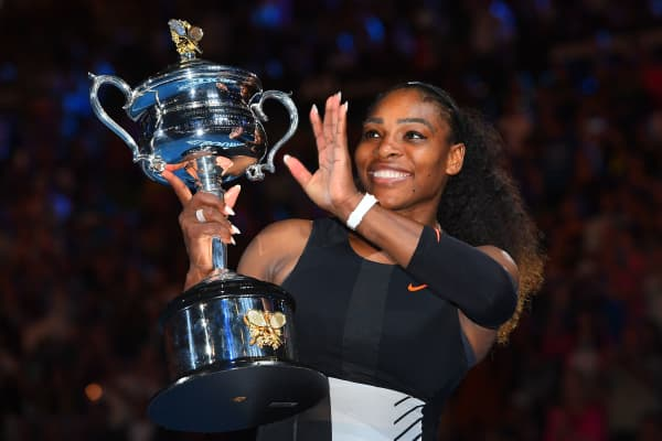 Serena Williams of the United States poses with the Daphne Akhurst Trophy after winning the Women's Singles Final against Venus Williams of the United States on day 13 of the 2017 Australian Open at Melbourne Park on January 28, 2017 in Melbourne, Australia.
