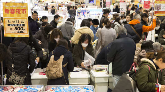 Shoppers at the Aeon Lake Town shopping mall on the first day of the New Year sales in Koshigaya, Saitama, Japan on Jan. 1, 2017.