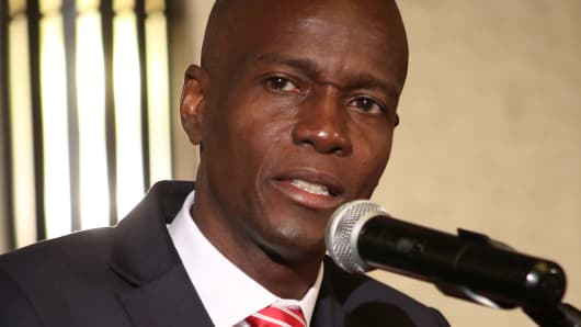 Haitian businessman Jovenel Moise addresses the audience after being declared the official winner of the November 2016 presidential elections, in Port-au-Prince, Haiti, January 3, 2017.