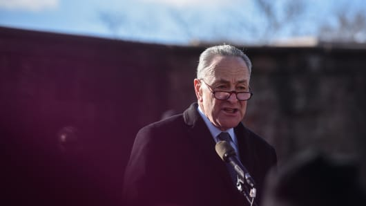 .S. Senator Chuck Schumer addresses the crowd during a protest against President Donald Trump's travel ban, in New York City, U.S. January 29, 2017.