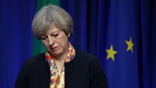 Prime Minister Theresa May during a press conference at Government Buildings in Dublin.