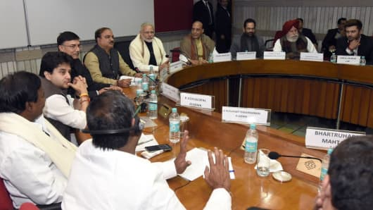 New Delhi, Jan 30 2017: Prime Minister Modi with other party leaders at a meeting on the eve of the budget session.