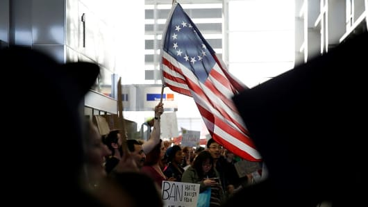 Demonstrators against President Donald Trump come together at 2nd Day of protests at San Francisco International Airport, in San Francisco, California, United States on January 29, 2017.