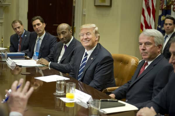 President Donald Trump meets with representatives from PhRMA, the Pharmaceutical Research and Manufacturers of America, in the Roosevelt Room of the White House on Jan. 31, 2017, in Washington, DC.