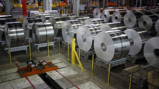 Aluminum coils sit on the floor of the Arconic Inc. manufacturing facility in Alcoa, Tennessee.