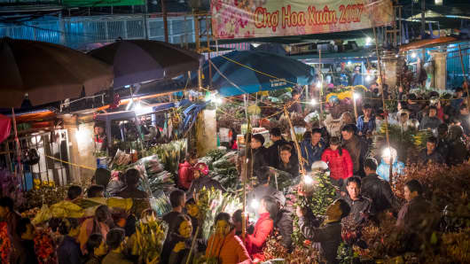 Hanoi, January 26 2017: Locals shop at the Quang Ba flower market during the Lunar New Year, also known as the Spring Festival.