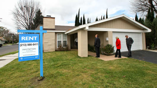 A home on Casaba Ave. in Canoga Park that Invitation Homes recently bought, fixed up and turned into a rental property.