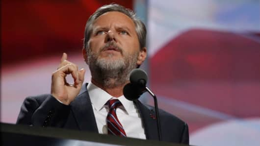 Jerry Falwell Jr. speaks during the final day of the 2016 Republican National Convention at Quicken Loans Arena in Cleveland, Ohio, July 21, 2016.