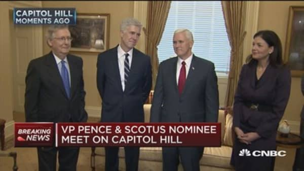 VP Pence & SCOTUS nominee meet on Capitol Hill