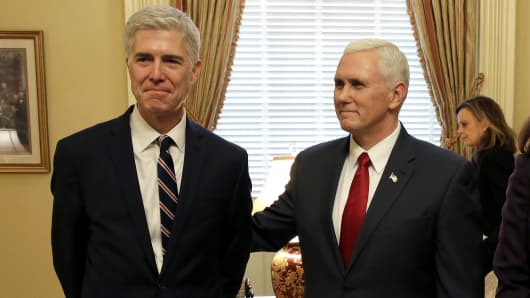 Supreme Court Nominee Judge Neil Gorsuch stands with U.S. Vice President Mike Pence on Capitol Hill in Washington, U.S., February 1, 2017.