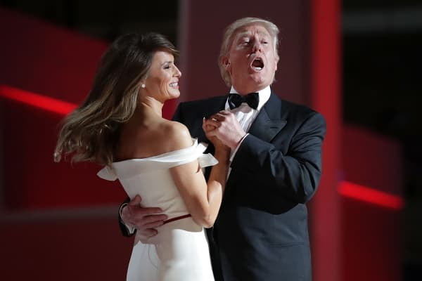 President Donald Trump sings to the song 'My Way' while dancing with first lady Melania Trump during the inaugural Liberty Ball at the Washington Convention Center January 20, 2017 in Washington, DC.