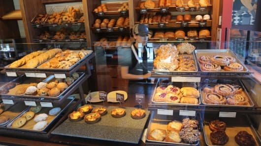 The bakery racks at the counter of Panera Bread on June 10, 2016 in Monroe, NY.